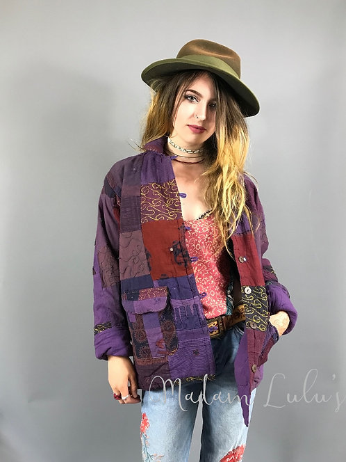 Upcycled Vintage Patchwork Quilted Kantha Jacket Purple