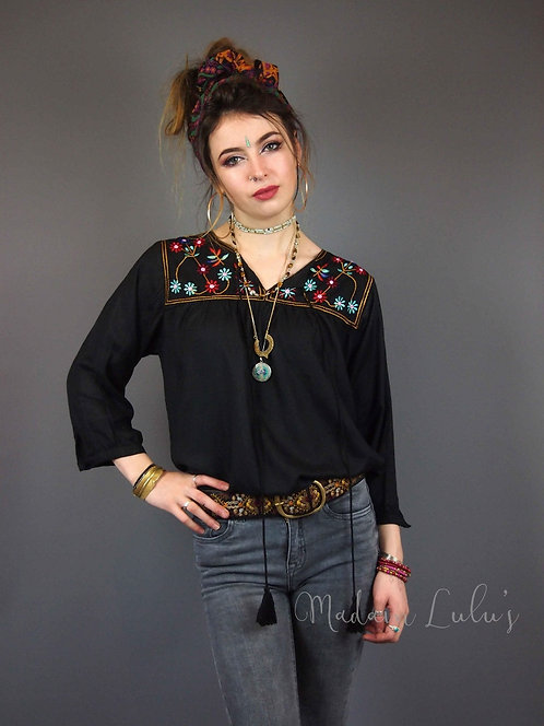 Black Embroidered Gypsy Top