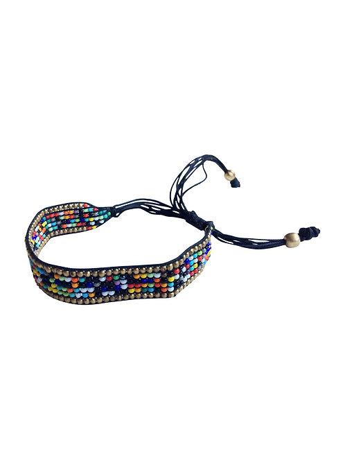 Brass and Multi Bead Bracelet