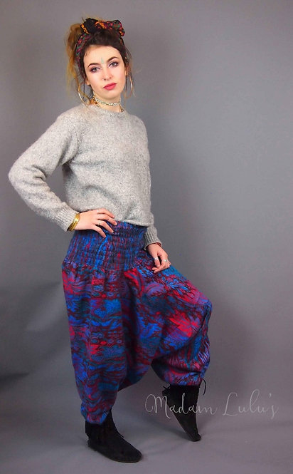 Flower Harem Fleece Trousers Blues