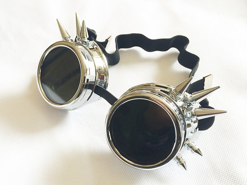 Silver Spike Steampunk Goggles Glasses