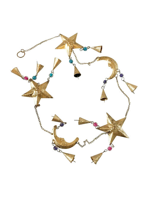 Brass Moon and Stars with Bells Mobile String