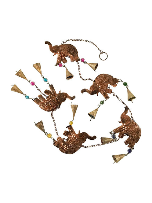 Brass Elephant with Bells Mobile String