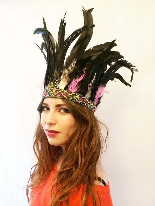 Festival Pink and Black Feather Headband