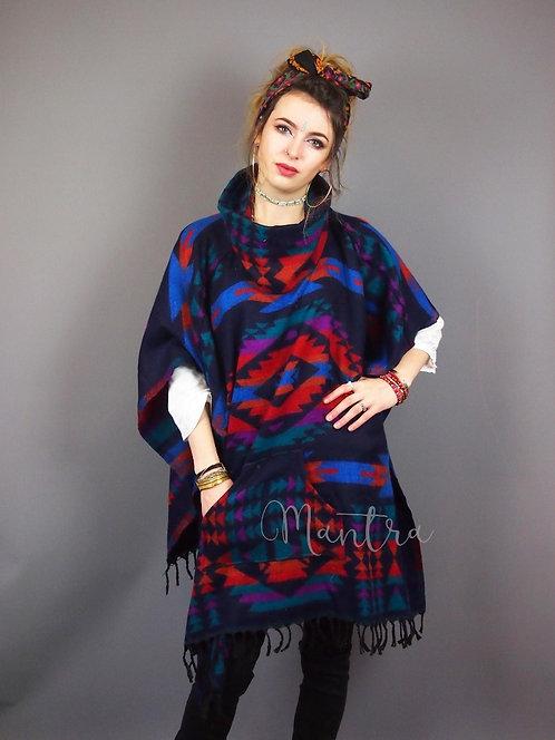 Aztec Tribal Festival Cowl Neck Fleece Poncho