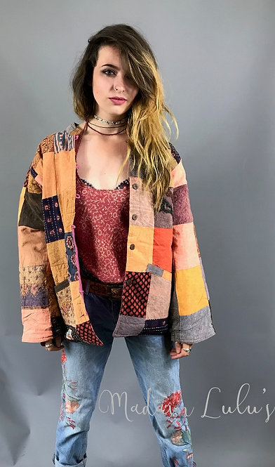 Upcycled Vintage Patchwork Quilted Kantha Jacket Orange