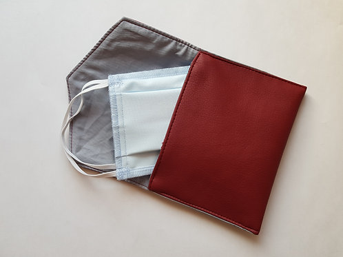 Pochette de rangement pour masque simili rouge