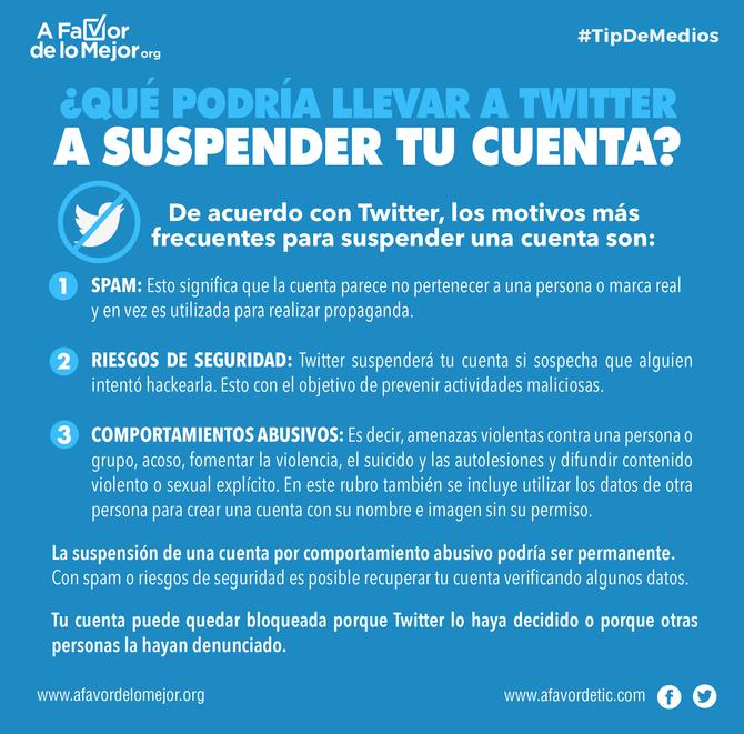 ¿Qué podría llevar a Twitter a suspender tu cuenta?