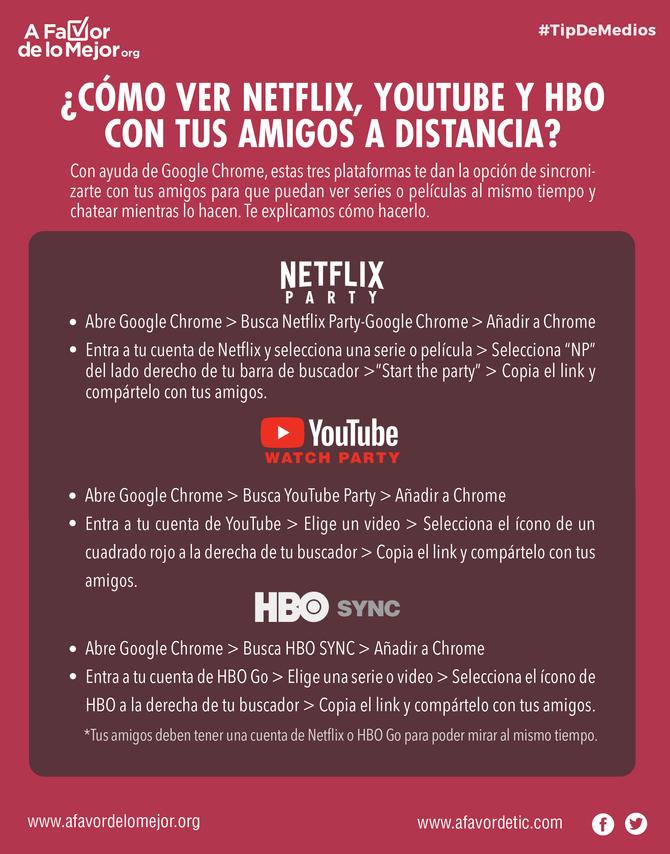 ¿Cómo ver Netflix, YouTube y HBO con tus amigos a distancia?