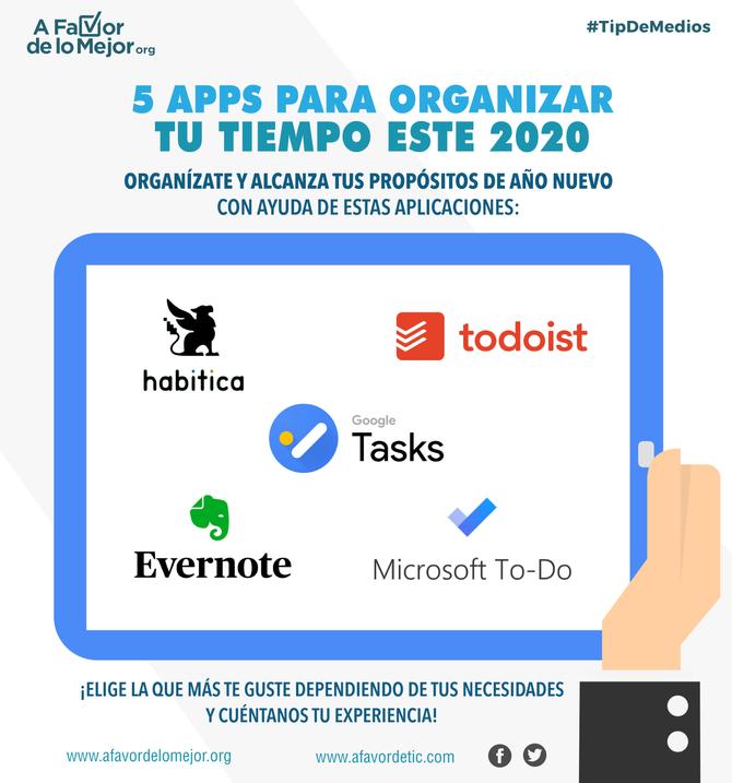 5 apps para organizar tu tiempo este 2020