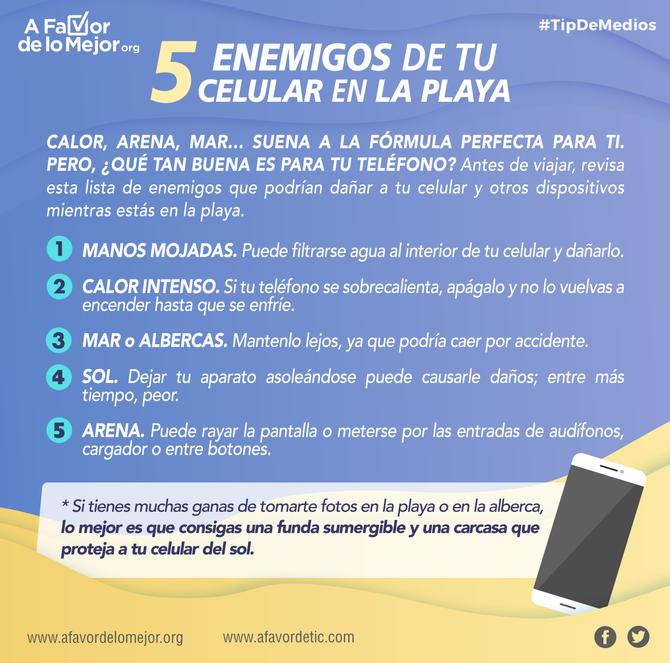 5 enemigos de tu celular en la playa