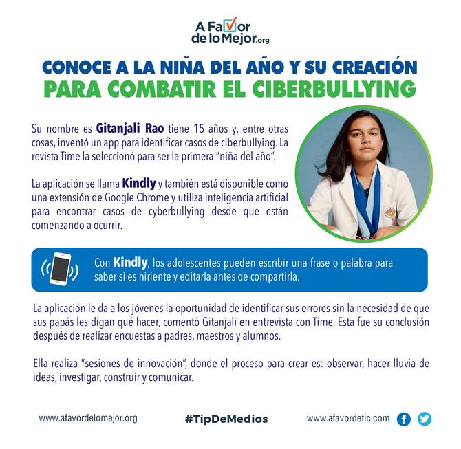 Conoce a la niña del año y su creación para combatir el ciberbullying