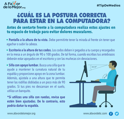 ¿Cuál es la postura correcta para estar en la computadora?