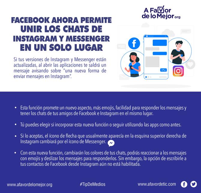 Facebook ahora permite unir los chats de Instagram y Messenger en un solo lugar