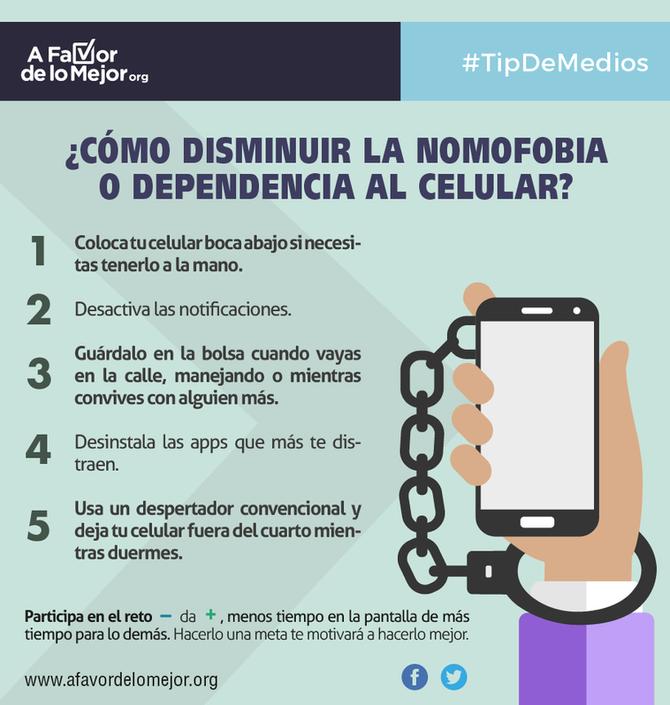 ¿Cómo disminuir la nomofobia o dependencia al celular?