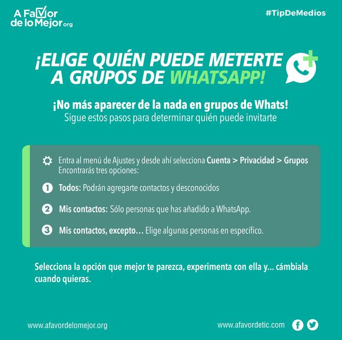 ¡Elige quién puede meterte a grupos de WhatsApp!