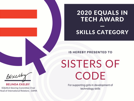 Sisters of Code receives a prestigious international award 2020 EQUALS in Tech