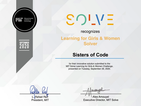 Solve MIT Global Challenge 2020 selects Sisters of Code as one of the top projects!