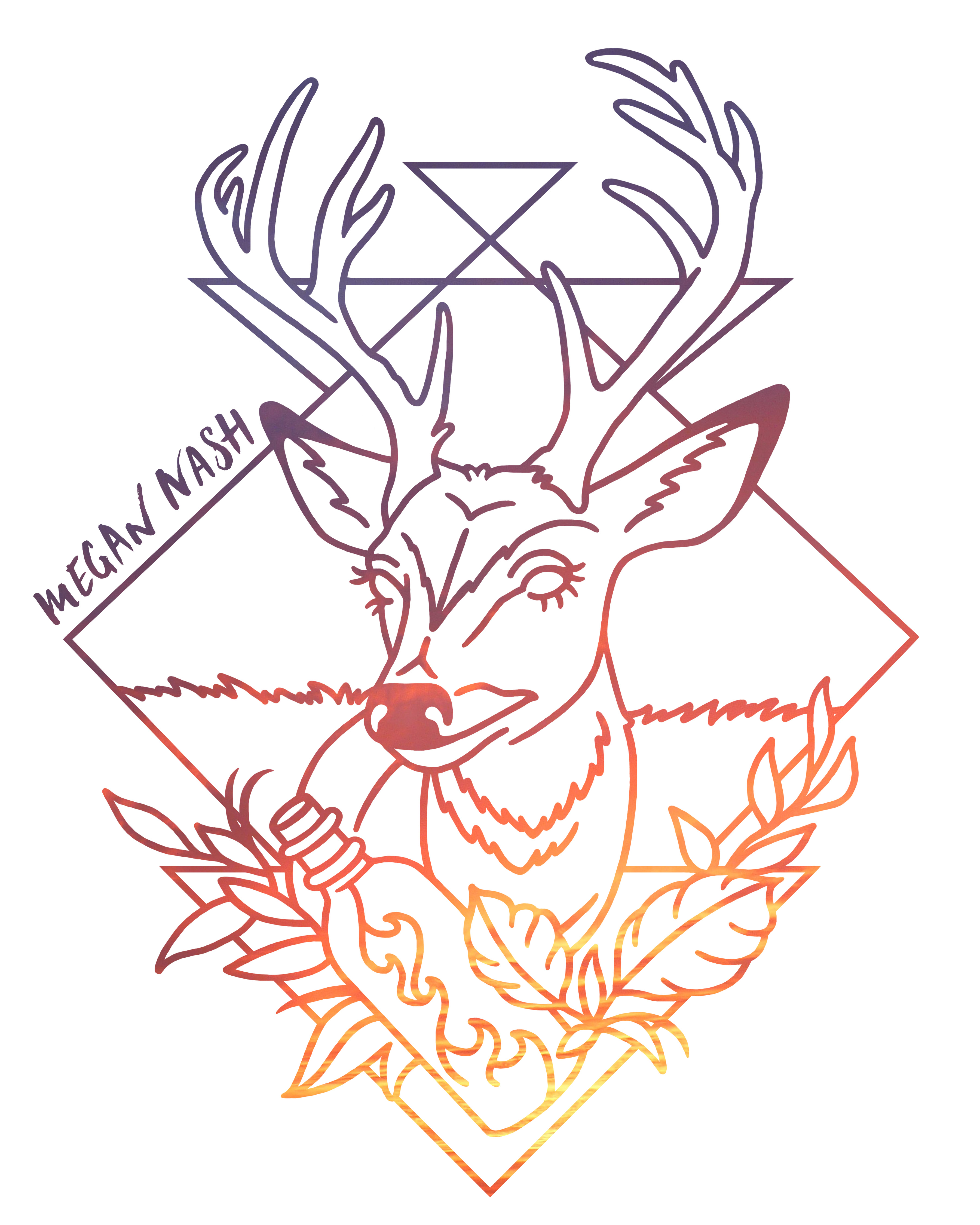 Megan Nash Deer Head Sticker