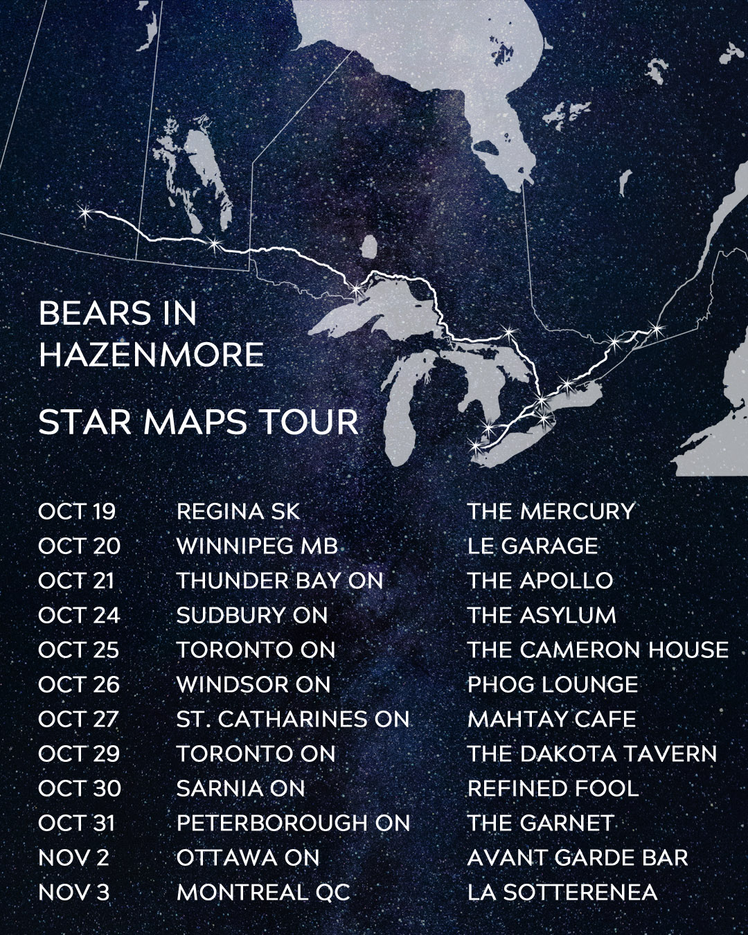 Bears Star Maps Tour Poster