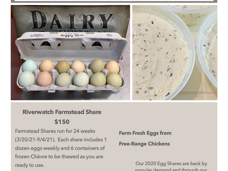 Riverwatch Farmstead Shares are back for 2021!