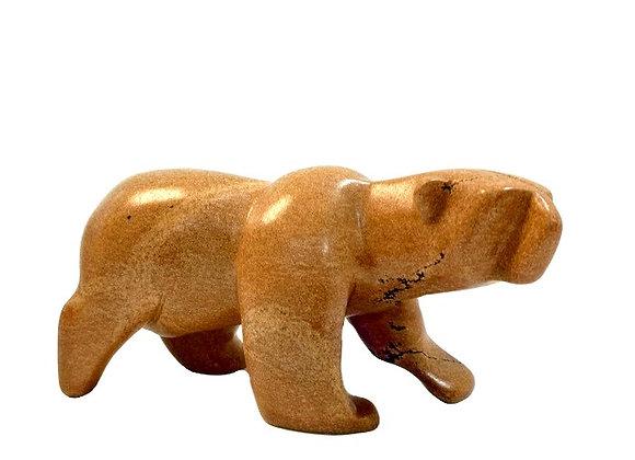 Carved Soapstone Polar Bear Tan