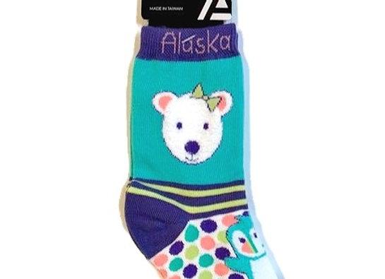 Polka Dot Polar Bear Toddler Socks