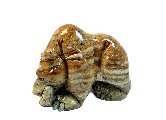 Carved Soapstone Medium Bear