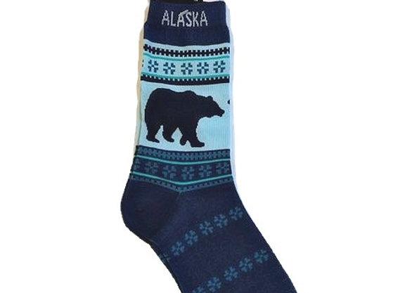 Womens Navy Bear Socks