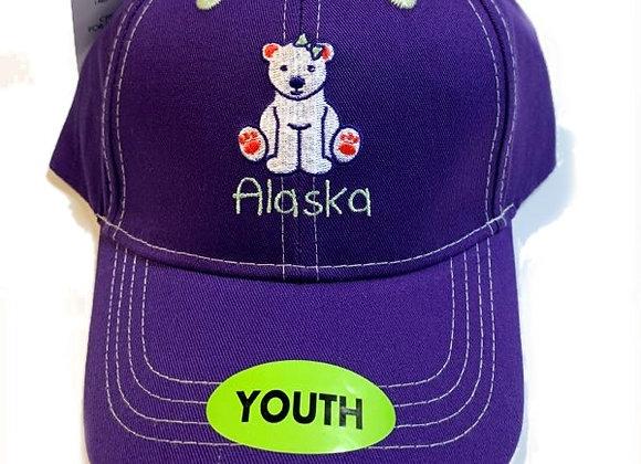Purple Polar Bear Youth Hat