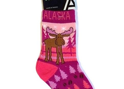 Pink Star Moose Toddler Socks
