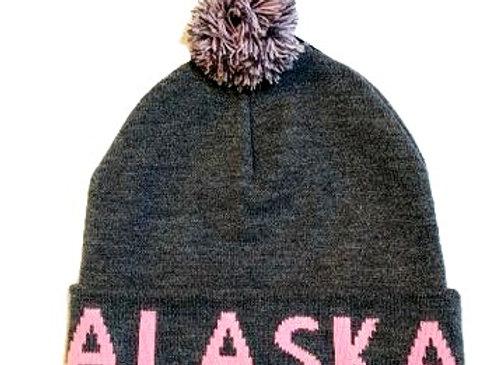 Pink Grey Knit Hat