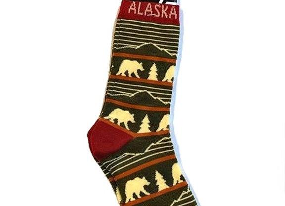 Unisex Bear Tree Mountain Socks