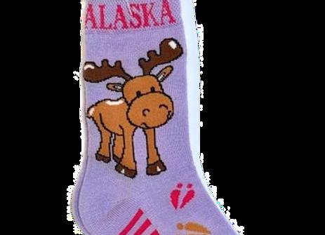 Moose Purple Toddler Socks