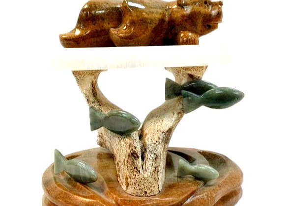 Carved Soapstone Ice Fishing Bear
