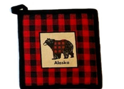 Buffalo Plaid Bear Oven Mitt