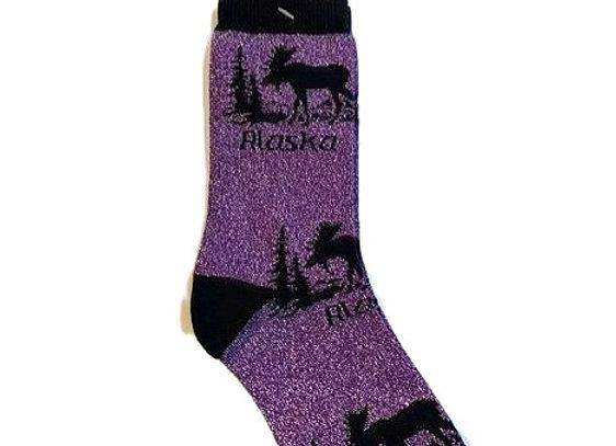 Unisex Purple Moose Socks