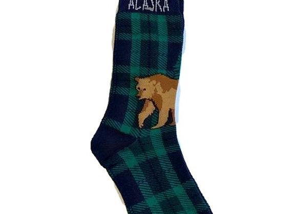 Unisex Plaid Bear Socks