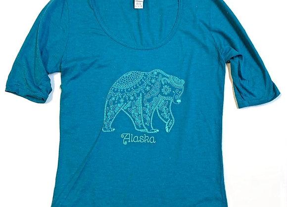 Womens Patterned Bear T-Shirt