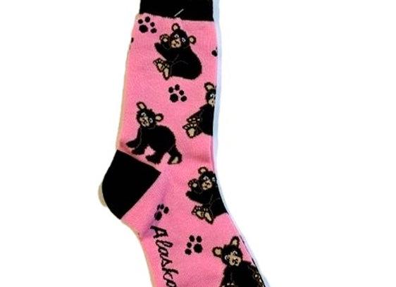 Black Bear Pink Socks