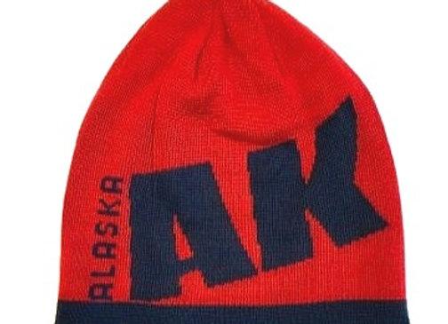 Reversible Red/Navy AK Knit Hat