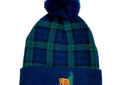 Plaid Bear Knit Hat