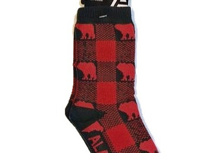 Buffalo Plaid Bear Youth Socks