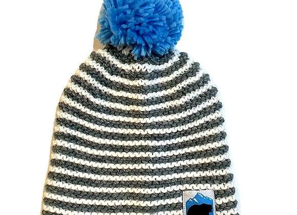 Striped Bear Patch Knit Hat