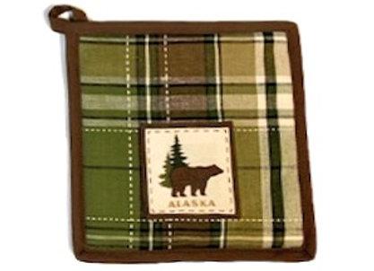 Green Plaid Bear Hot Pad