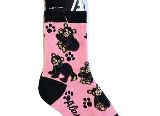 Black Bear Pink Toddler Socks