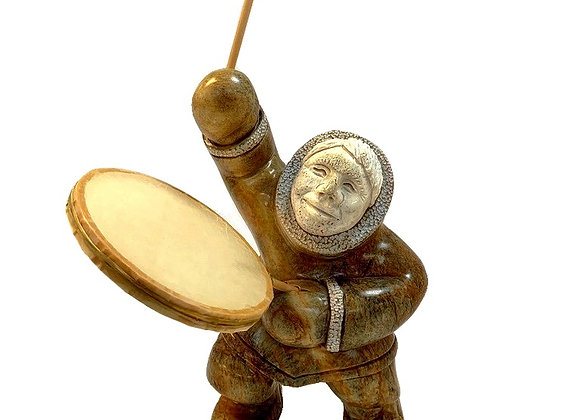 Carved Soapstone Eskimo Drummer
