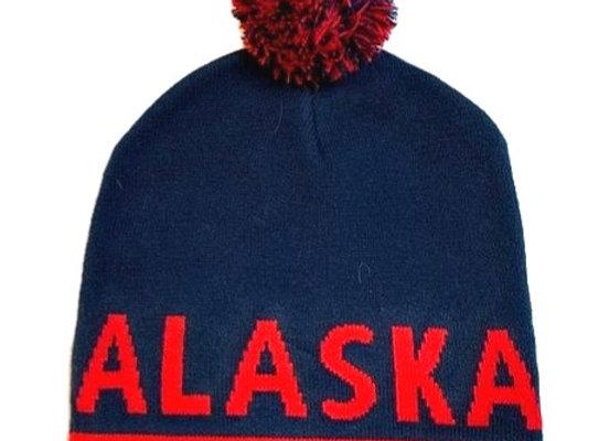 Red Navy Alaska Knit Hat