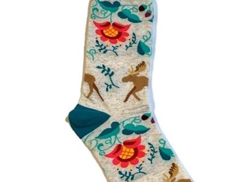 Womens Crewel Moose Socks
