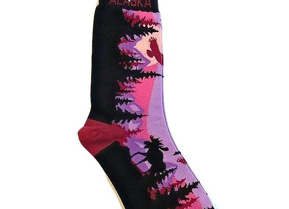 Womens Moose Mountain Scene Socks